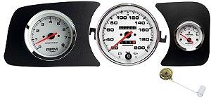 Painel Fusca 200km/h Cronomac com RPM L.E. e Ind. Combustível L.D. e Boia de Braço - Branco