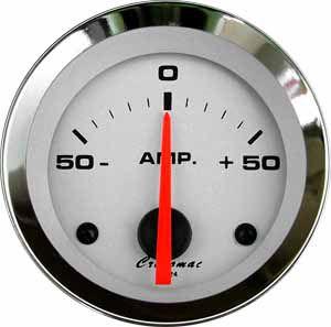 Amperímetro ø52mm 50A Cromado/Branco | Cronomac