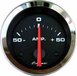 Amperímetro ø52mm 50A Cromado/Preto | Cronomac