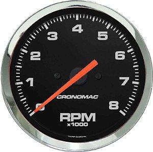 Contagiro 8000RPM ø100mm 2/4/6/8 Cil Cromado/Preto | Cronomac
