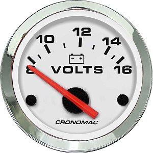 Voltímetro ø52mm 12 Volts Cromado/Branco | Cronomac