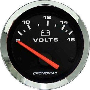 Voltímetro ø52mm 12 Volts Cromado/Preto | Cronomac