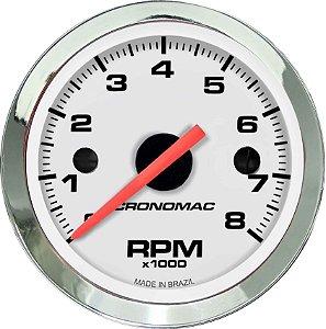 Contagiro 8000RPM ø52mm 2/4/6/8 Cil Cromado/Branco | Cronomac