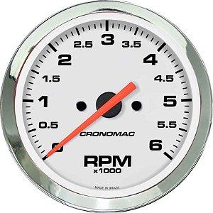 Contagiro 6000RPM ø85mm 2/4/6/8 Cil Cromado/Branco | Cronomac