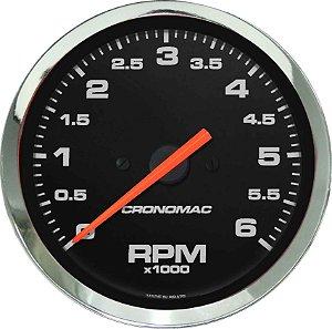 Contagiro 6000RPM ø85mm 2/4/6/8 Cil Cromado/Preto | Cronomac