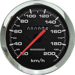 Velocímetro 200km/h ø100mm Cromado/Preto | Cronomac