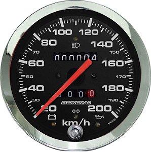 Velocímetro 200km/h ø100mm Hodom. Duplo e Sinaleira Cromado/Preto| Cronomac