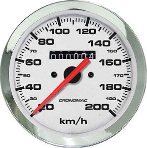 Velocímetro 200km/h ø100mm Cromado/Branco | Cronomac