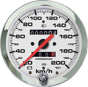 Velocímetro 200km/h ø100mm Hodom. Duplo e Sinaleira Cromado/Branco | Cronomac