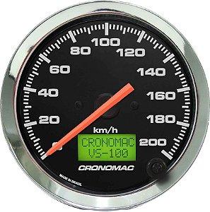 Velocímetro 200km/h ø100mm Eletrônico Cromado/Preto | Cronomac