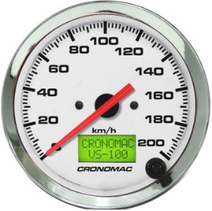 Velocímetro 200km/h ø100mm Eletrônico Cromado/Branco| Cronomac