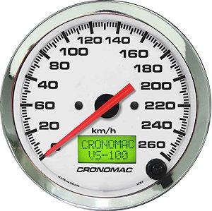 Velocímetro 260km/h ø100mm Eletrônico Cromado/Branco| Cronomac
