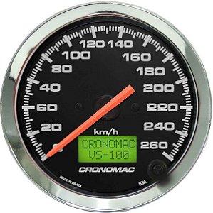 Velocímetro 260km/h ø100mm Eletrônico Cromado/Preto | Cronomac