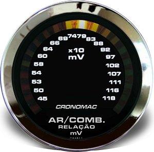 Hallmeter 52mm Milivolt Cromado Preto| Cronomac