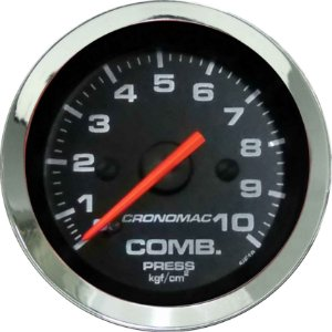 Manômetro Combustível 10KGf/cm² ø52mm Cromado/Preto | Cronomac