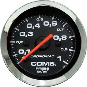 Manômetro Combustível 1KGF/CM² ø52mm Cromado/Preto | Cronomac