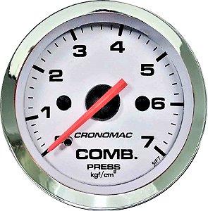 Manômetro Combustível 7KGF/CM² ø52mm Cromado/Branco | Cronomac