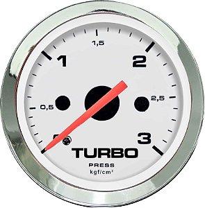 Manômetro Turbo 3KGF/CM² ø52mm Cromado/Branco | Cronomac