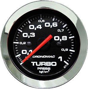Manômetro Turbo 1KGF/CM² ø52mm Cromado/Preto | Cronomac
