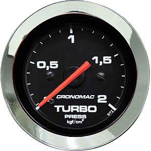 Manômetro Turbo 2KGF/CM² ø52mm Cromado/Preto | Cronomac