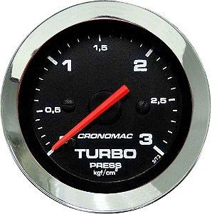 Manômetro Turbo 3KGF/CM² ø52mm Cromado/Preto | Cronomac