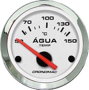 Termômetro Água ø52mm 12V com Sensor Cromado/Branco | Cronomac