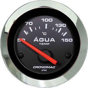 Termômetro Água ø52mm 12V com Sensor Cromado/Preto| Cronomac