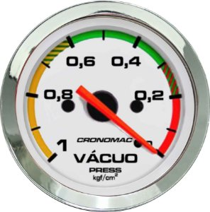 Vacuômetro Com Faixa ø52mm Cromado/Branco Cronomac