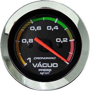 Vacuômetro Com Faixa ø52mm Cromado/Preto Cronomac