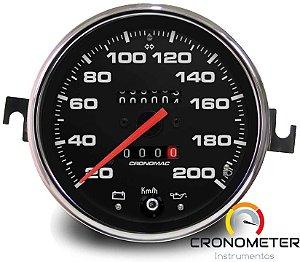 Velocimetro Fusca 110mm 2 Odometros e Sinaleira Original Cronomac 200km/h Fundo Preto