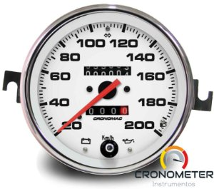 Velocimetro Fusca 110mm 2 Odometros e Sinaleira Original Cronomac 200km/h Fundo Branco
