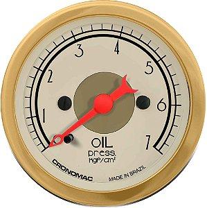 Manômetro Óleo 7KGF/CM² Mecânico ø52mm Hot Gold| Cronomac