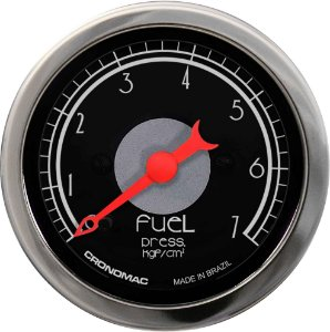 Manômetro Combustível 7KGF/CM² ø52mm Hot Black | Cronomc