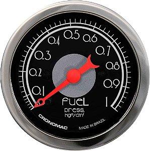 Manômetro Combustível 1KGF/CM² ø52mm Hot Black | Cronomc