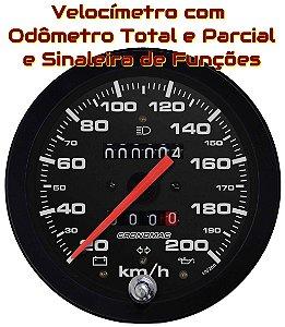Velocímetro 200km/h ø100mm Hodom. Duplo e Sinaleira Street/Preto| Cronomac
