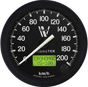 Velocímetro 200km/h ø100mm Eletrônico Wilys | Cronomac