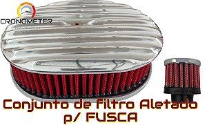 Filtro Esportivo Fusca/Vw/Ar Todos Aletado c/ Respiro