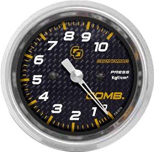 Manômetro Combustível 10KGF/CM² ø60mm Carbono | Cronomac