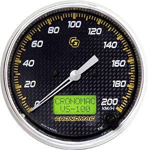 Velocímetro 200km/h ø100mm Eletrônico Carbono | Cronomac