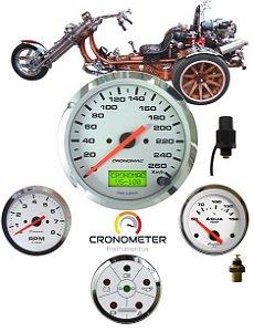 Painel Triciclo com Velocímetro Eletrônico Cromado Branco | Cronomac (299)
