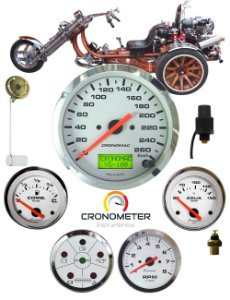 Painel Triciclo com Velocímetro Eletrônico Cromado Branco | Cronomac (302)