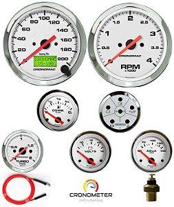 Kit 7 Instrumentos Linha Diesel - Velocímetro Eletrônico - Cromado/Branco | Cronomac (404)