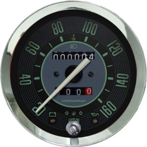 Velocímetro 160km/h ø100mm Hodom. Duplo e Sinaleira Fusca Verde | Cronomac