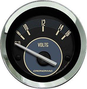 Voltímetro ø52mm 12 Volts Fusca Bege | Cronomac