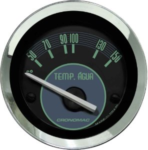 Termômetro Água ø52mm 12V com Sensor Fusca Verde | Cronomac