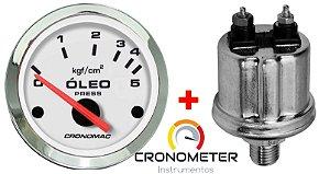 Manômetro Óleo 5KGF/CM² Elétrico 12 Volts  COM Sensor ø52mm Cromado/Branco| Cronomac