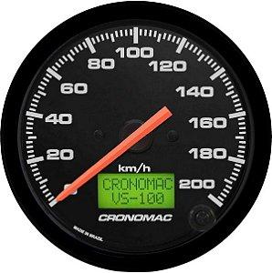 Velocímetro 200km/h ø100mm Eletrônico Street/Preto| Cronomac