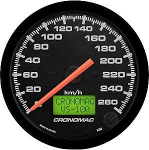 Velocímetro 260km/h ø100mm Eletrônico Street/Preto| Cronoma