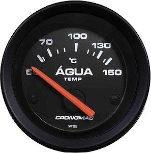 Termômetro Água ø52mm 12V com Sensor Street/Preto| Cronomac