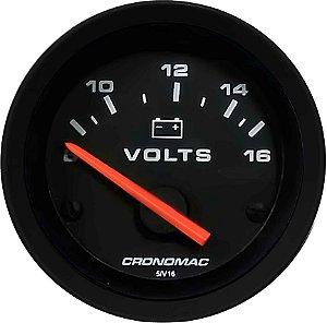 Voltímetro ø52mm 12 Volts Street/Preto | Cronomac